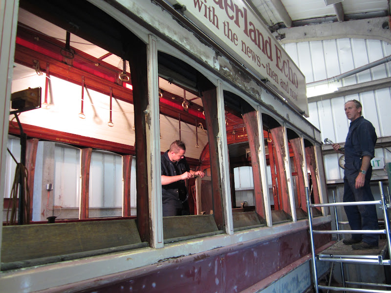 Seen on the afternoon of June 26th, 196 has now been stripped of its sliding saloon windows as work progresses. (Photo courtesy of Beamish Transport & Industry blog)