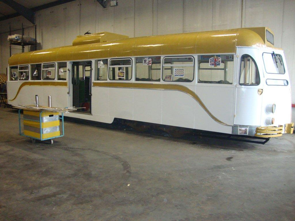 Looking resplendent in its gold and white livery at Kirkham Prison, Brush Car 290 nears completion. (Photo courtesy of Fleetwood Heritage Leisure Trust)