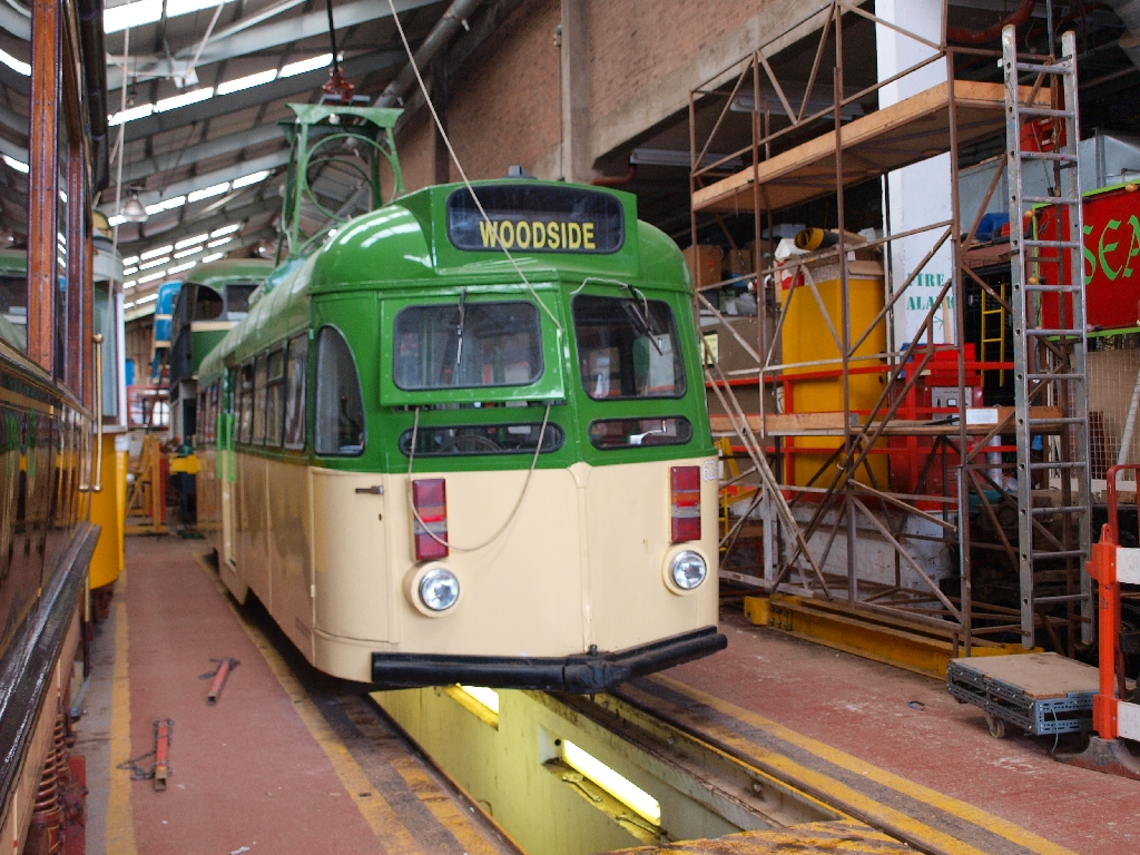 Brush car 626 seen tucked up inside Pacific Road depot, surrounded by its new bedfellows. Note the appropriate destination now fitted to the tram. (Photo by John Hewitt)