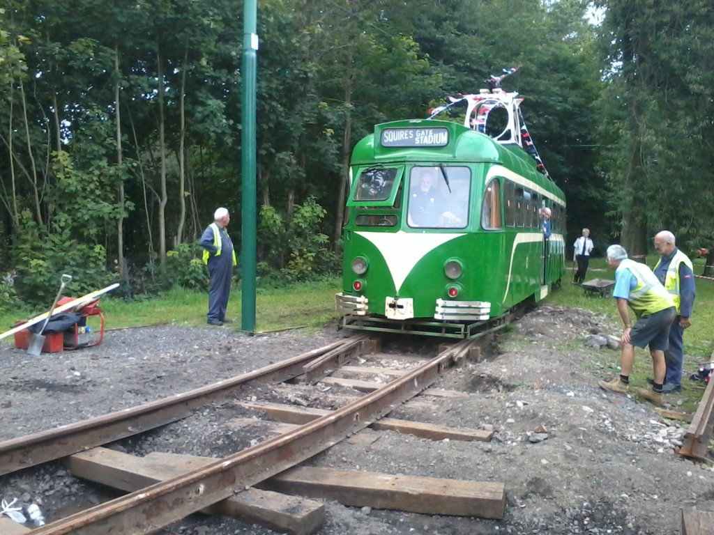 Another view of Blackpool 623 on an engineering test run over the Lakeside points. (Photo by Joe Savage)