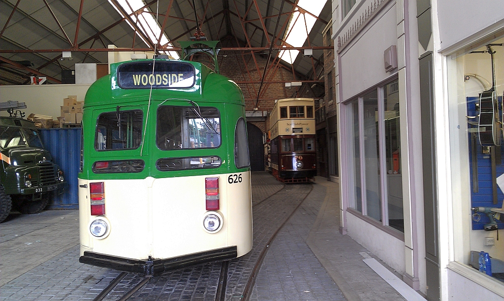 Blackpool 626 enters the familiar surroundings of Pacific Road once again, whilst Hong Kong 70 looks on. (Photo by John Hewitt)
