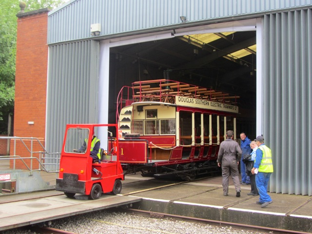 You wait years for Douglas 1 to make an apperance outside and then... Following on from its starring role in the Blackpool Brush 626 launch event earlier this year 1 makes another appearance outside the Exhibition Hall. (Photo: Jack Gordon/Tramways Monthly)