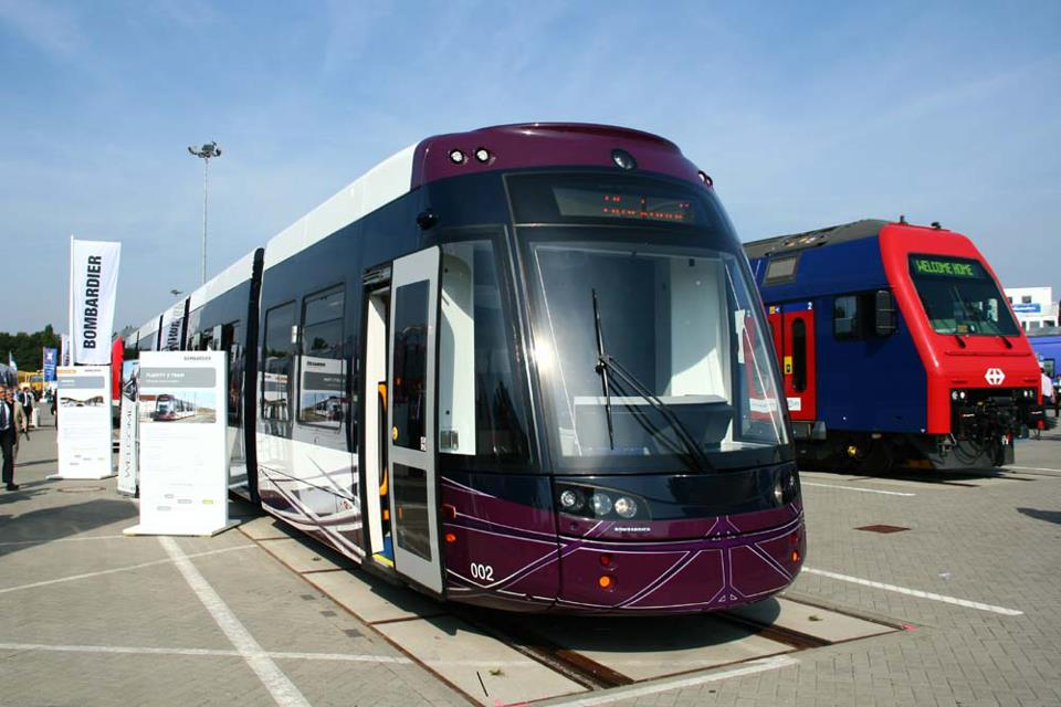 Surely one of the most unusual images ever published on British Trams Online, is this shot of Blackpool Flexity 002 at the InnoTrans 2012 trade fair in Berlin, taken on 18th September. (Photo by Christoph Heuer)