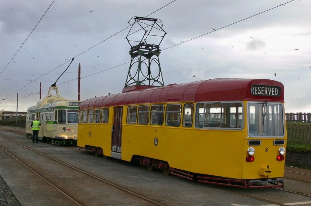 OMO 8 and Coronation 304 share the centre track at Bispham during an LTT tour in November 2010. Little did we know at that time, but this was destined to be the last time that either car would run on the tramway. (Photo by Tony Waddington)