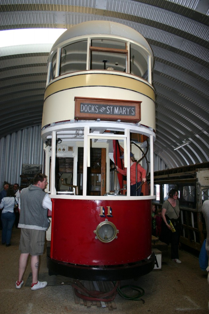 Southampton domed roof tram 11 seen head on on 5 May during the Southamptom Maritime Festival.