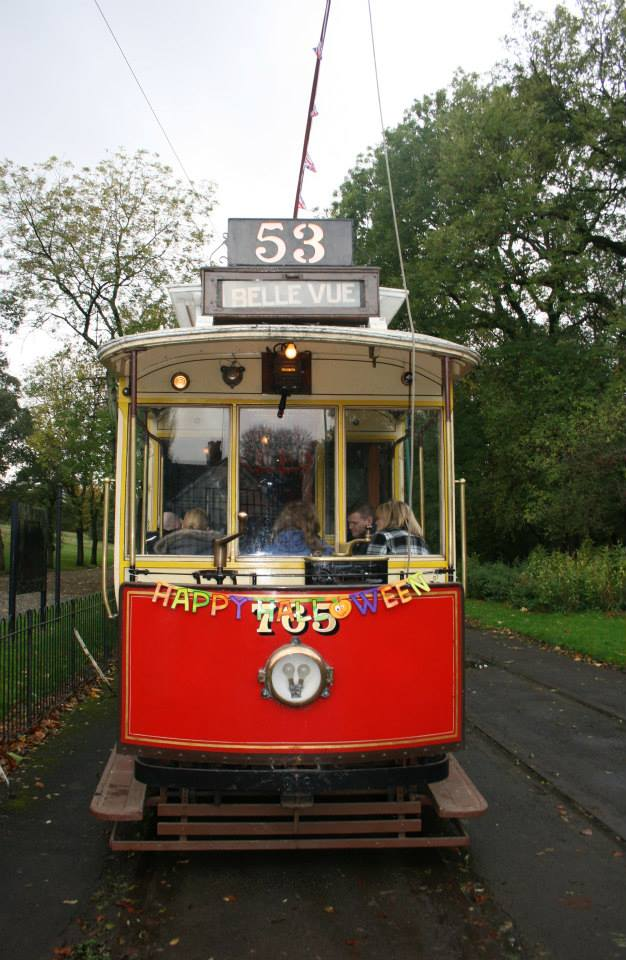 Manchester 765 operating as the 'Halloween Special' on 27th October, showing some of the decorations fitted at one end (more were inside the car). The tram is pictured at Middleton Road terminus. (Photo by Joe Savage)