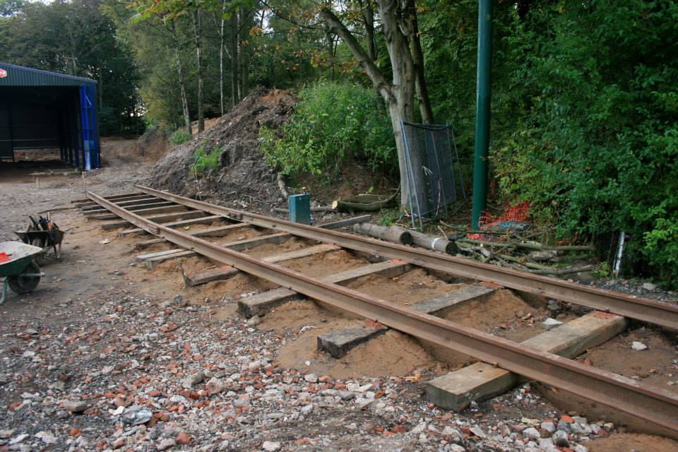A close look at some of the newly laid rails which will form the start of depot road 3, seen on October 6th.