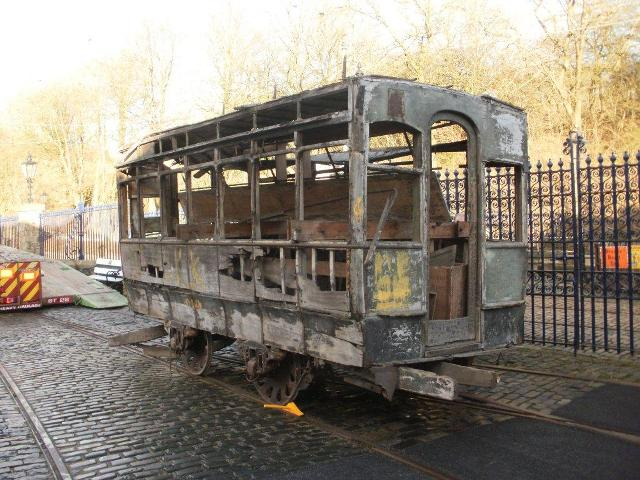 Probably the only opportunity to see the North Metropolitan horse car in its current condition outside at Crich, shortly before it was moved into the workshop to be broken up. (Photo courtesy of Crich Tramway Village)