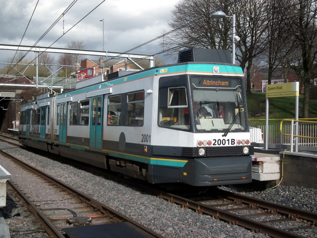 2001 stands at Queens Road stop on 20th February whilst operating a service to Altrincham.