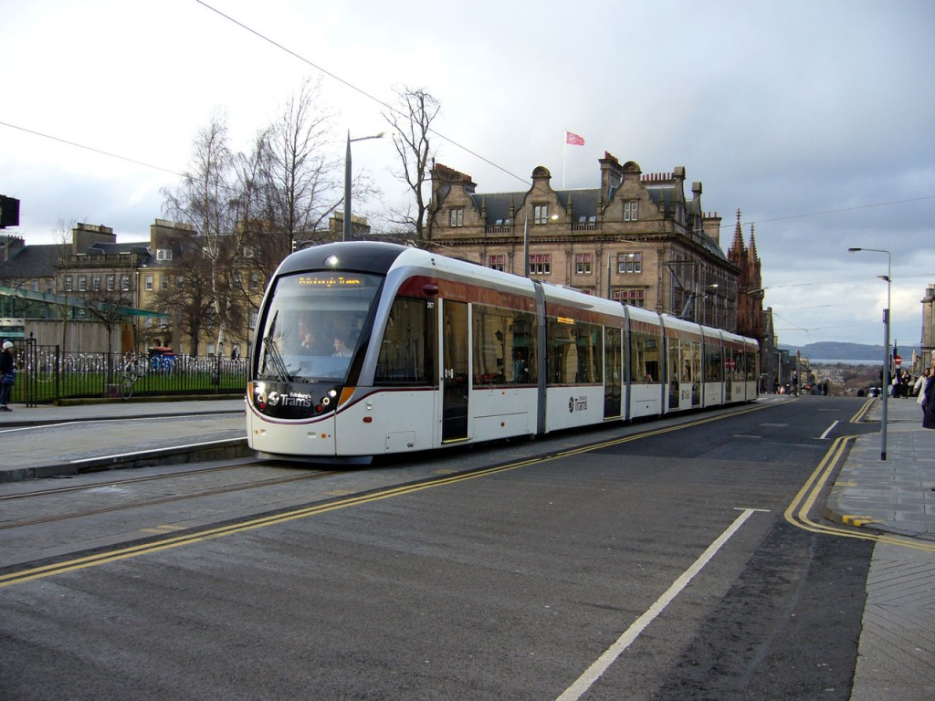 267 at St Andrews Square tram stop on the return journey to the Airport. The River Forth and the hills of Fife in the background. (All photos: John Hampton, taken on 25th February 2014)