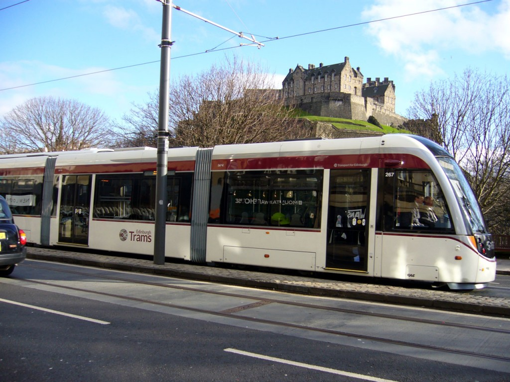 267 in Princes Street with the castle as the backdrop on its return journey to the Airport.