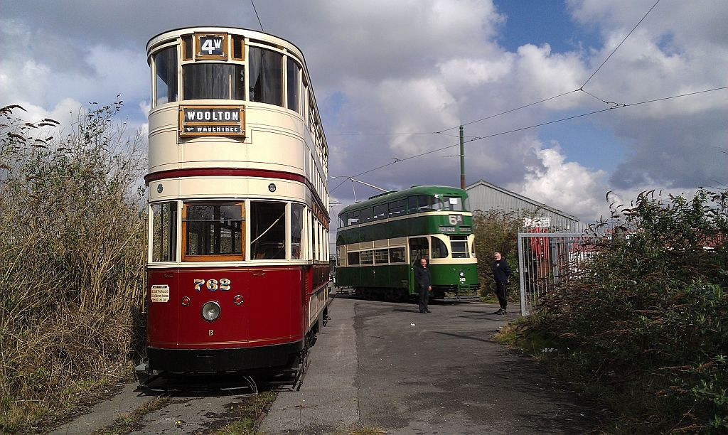 A mouthwatering sight which many of us have waited a long time to see - two Liverpool electric trams, 762 and 245, together at Birkenhead. (All photos by John Hewitt)