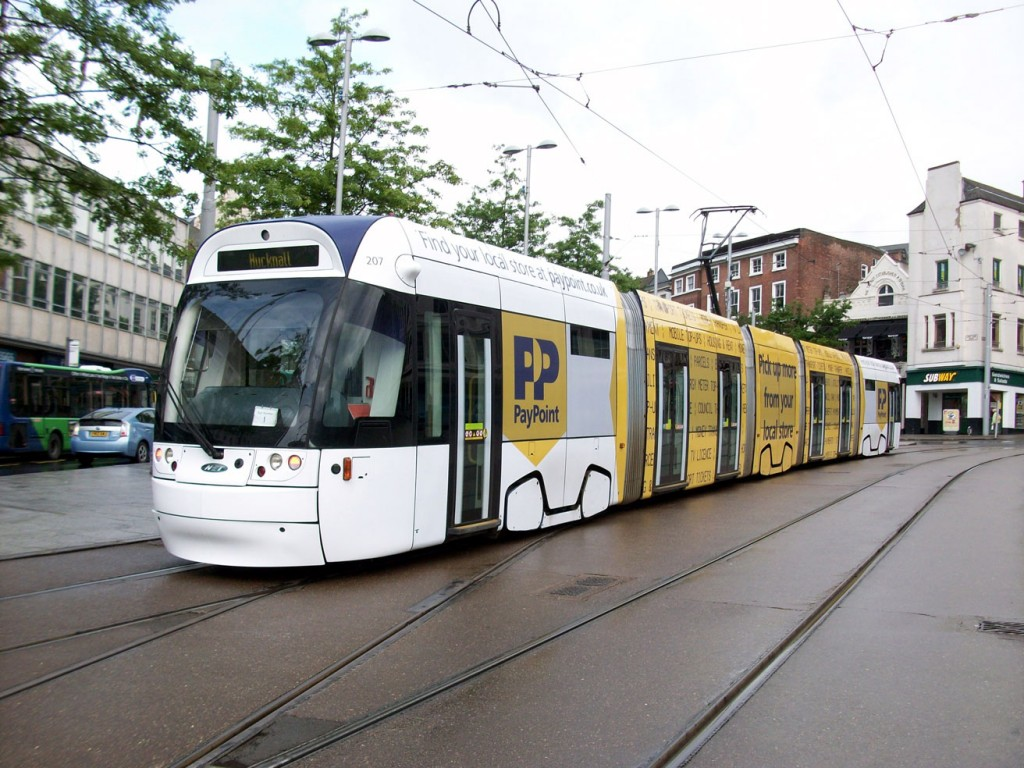 207 shows off its new livery in Old Market Square. Note that there is still evidence of its previous blue livery.