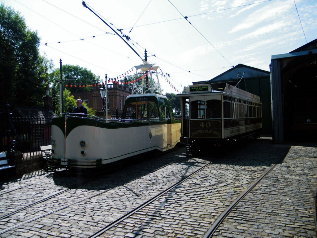 40 stands outside the Workshop as Blackpool Boat 236 passes by. (All Photos courtesy of Crich Tramway Village)