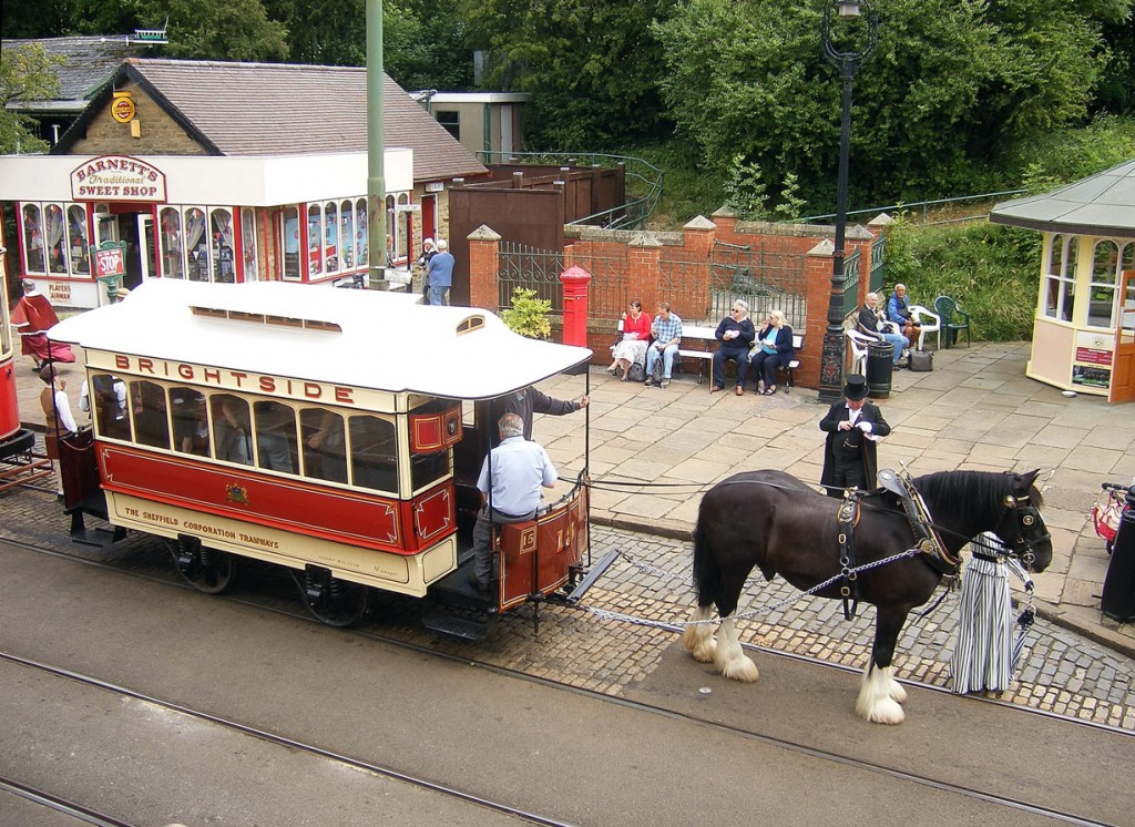 The last chance to ride on a horse tram at Crich for the year as Sheffield 15 is seen at Stephenson Place on 13th July.