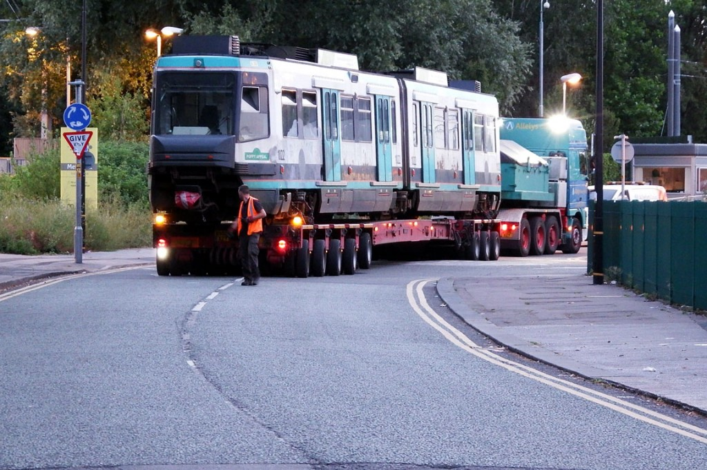1022 backs out of Trafford Depot at the start of its journey south.