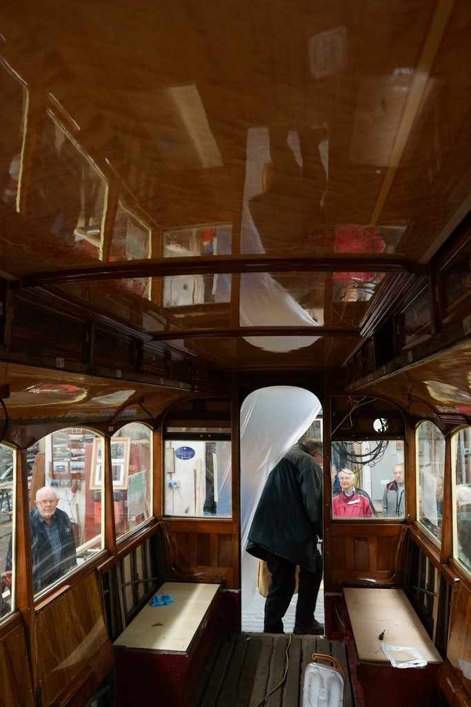 An internal view of the lower saloon with the high quality mirror finish to the ceiling.