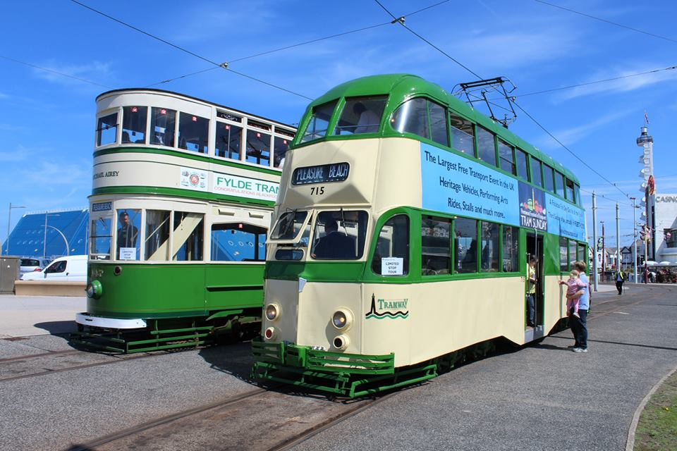 Glorious sunshine shows off 715's colourful new adverts for Tram Sunday as the tram stands at Pleasure Beach alongside Standard 147 on 23rd May. (Photo by Bradley Jones)