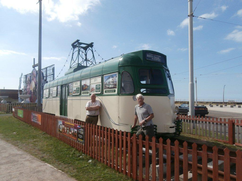 John Woodman and Colin Macleod from the FHLT are seen alongside 290 in its current green and cream guise at Pleasure Beach. (All Photographs courtesy of Fleetwood Heritage Leisure Trust)
