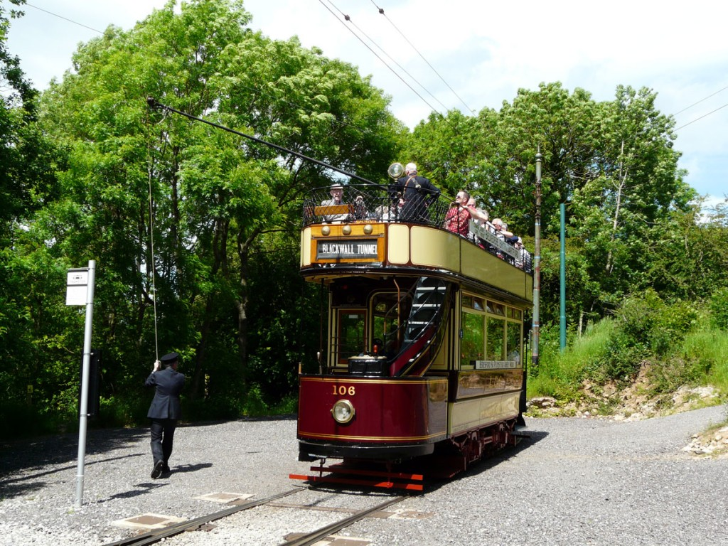 The first tram to run in service back through to Glory Mine was London County Council 106. (Photograph courtesy of Crich Tramway Village)