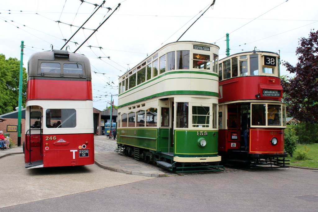 A regular scene at the East Anglia Transport Museum is of Blackpool 159 and London Transport 1858 side by side at the Chapel Road terminus of the tramway. In this view they are joined by Belfast trolleybus 246 on 25th May 2015. (Photograph by Gareth Prior)