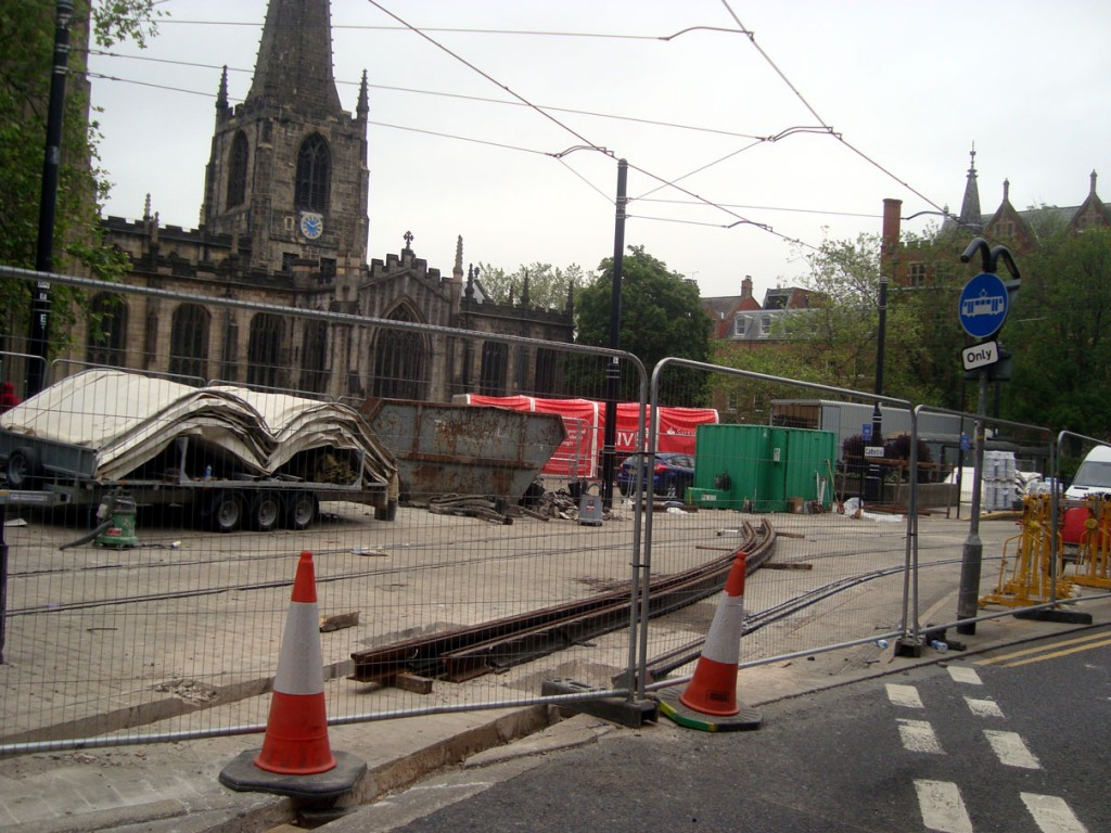 Three photos showing the last rail replacement work underway at Cathedral on 20th June. (All Photographs by Stuart Cooke)