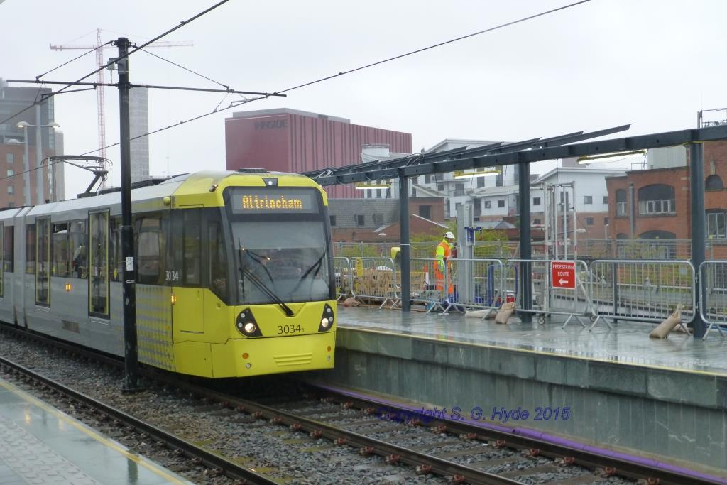 The new platform with 3034 at the head of an Altrincham bound coupled set. (All Photographs by Steve Hyde)