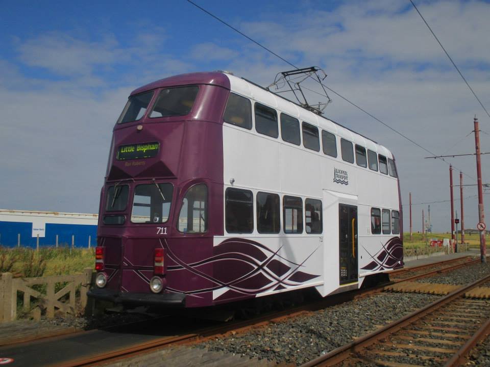 A brief sunny spell on Tuesday 21st July shows off car 711 at Little Bispham.