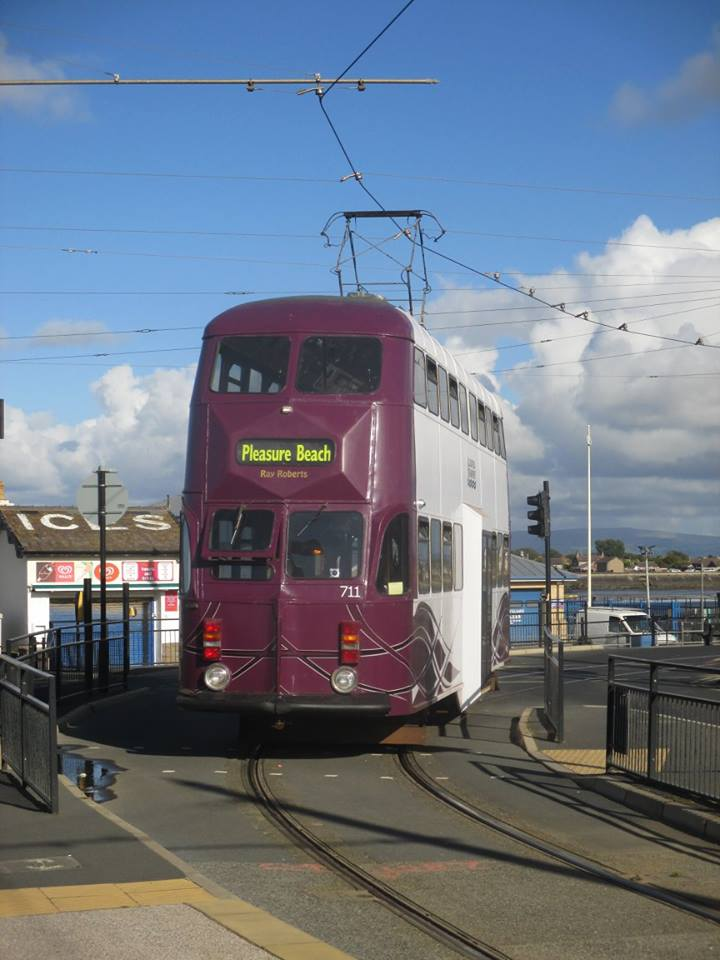 An unusual view as Balloon 711 pulls away from the loading stop on Bold Street and onto Fleetwood esplanade whilst in service on 15th September.