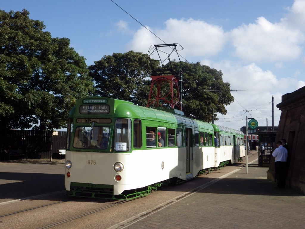 Having just run to Fleetwood for the first time since 2009, 675+685 pose on Pharos Street before returning south on their inagural journey after being launched into the heritage tram fleet.