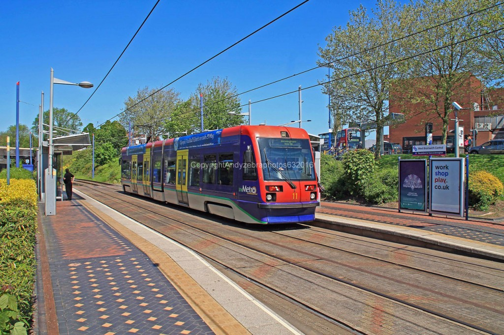 As the tram used to be - 11 at West Bromwich Central in the original fleet livery on 25th May 2012.