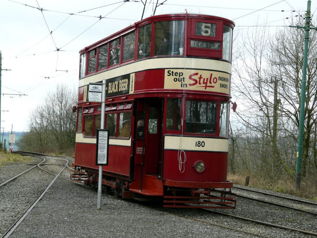 Leeds 180 waits at Glory Mine having arrived with the first service of the year. (All Photographs courtesy of Crich Tramway Village)