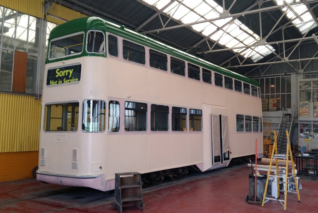 718 is seen in the Paint Shop in the early stages of receiving green and cream for the first time since it was transformed into a Millennium car. (Photo courtesy of Blackpool Heritage Tram Tours)