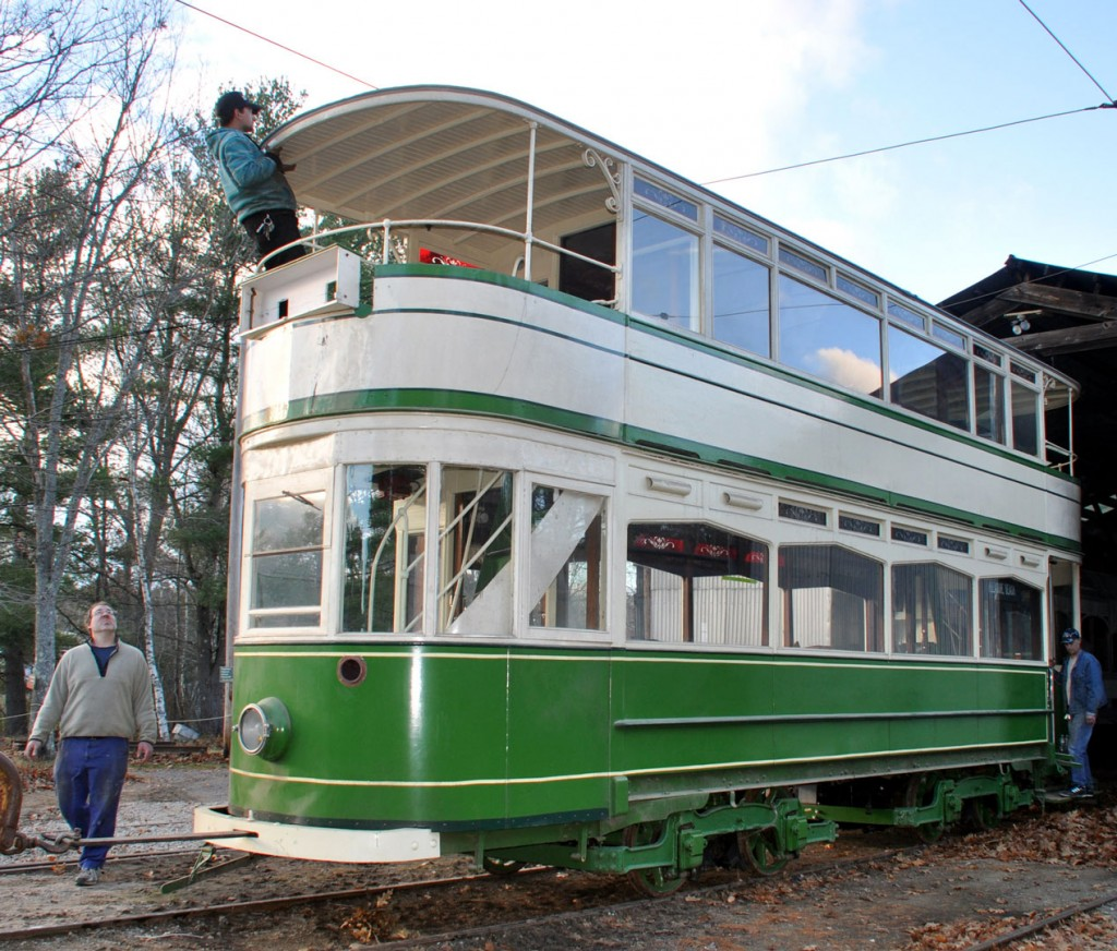 144 is hauled out of the shed showing the current external condition of the tram.