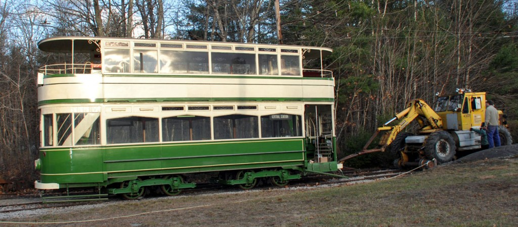 Another view of 144 in the open showing the open balconies and the green and cream livery. (Both Photographs courtesy of Seashore Trolley Museum)