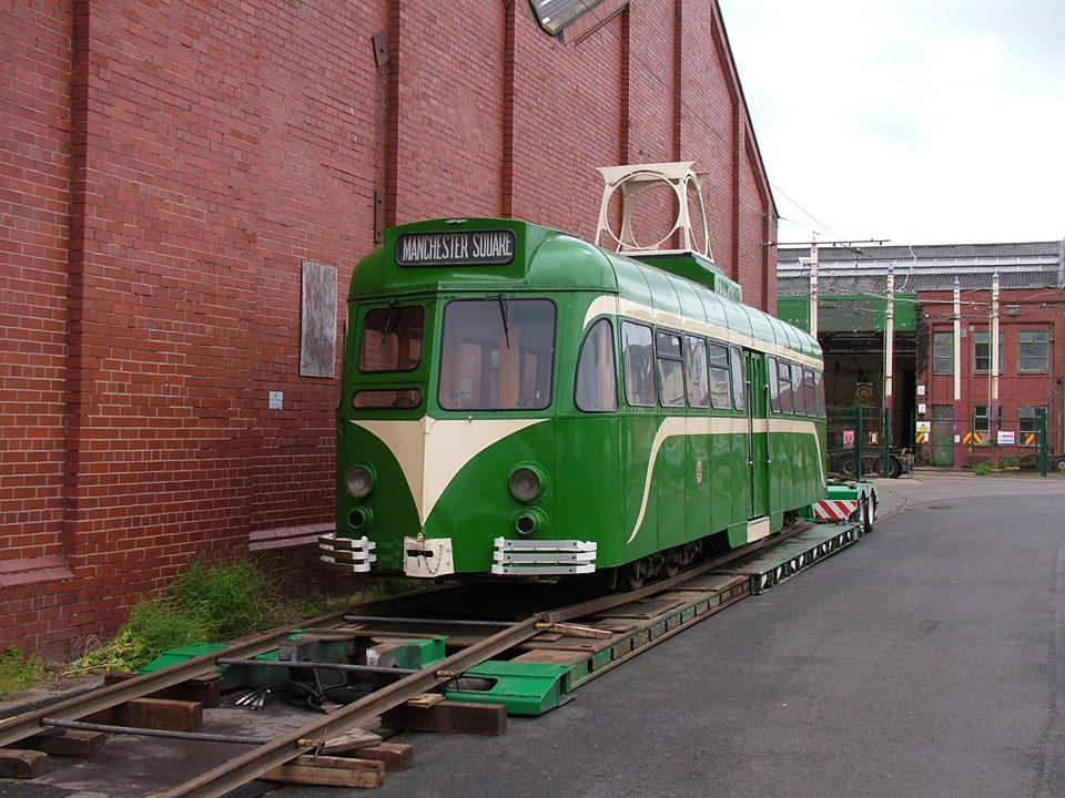 Showing a highly appropriate destination on its blind, 623 is back home and being unloaded on Blundell Street. (Photo courtesy of Blackpool Heritage Tram Tours)