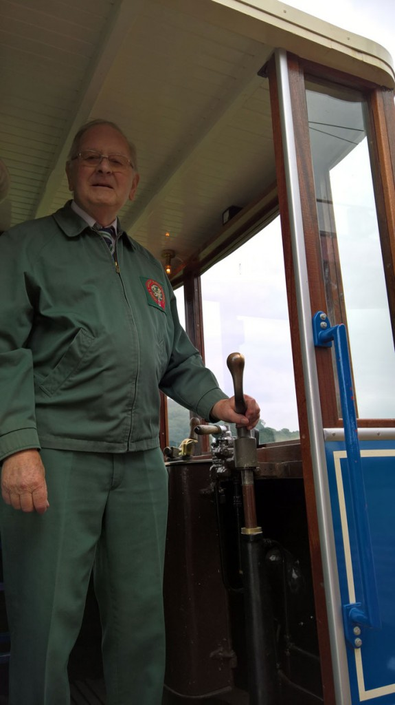 David poses for the camera on board the newest tram in the fleet, no. 15. (Both Photographs by Mike Poole)