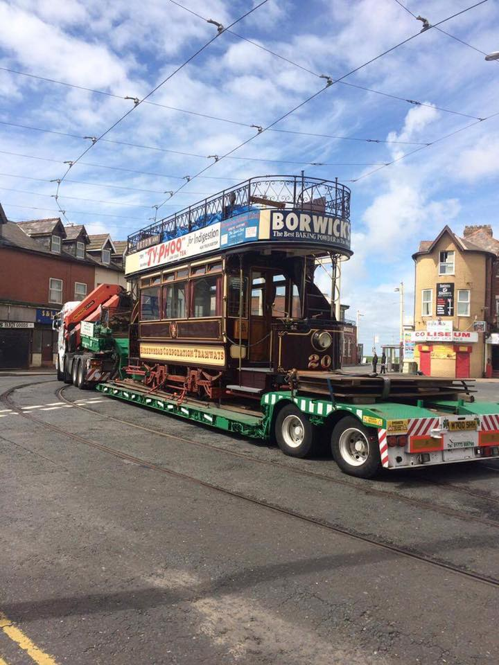 The historic scene with 20 turning onto Hopton Road for the very first time, albeit on the back of a low loader. Welcome to your temporary new home! (Photos courtesy of the Merseyside Tramway Preservation Society)