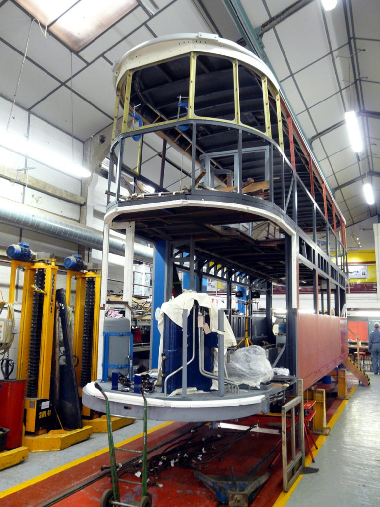 The body of Bluebird in the Workshop showing the current general condition of the tram.
