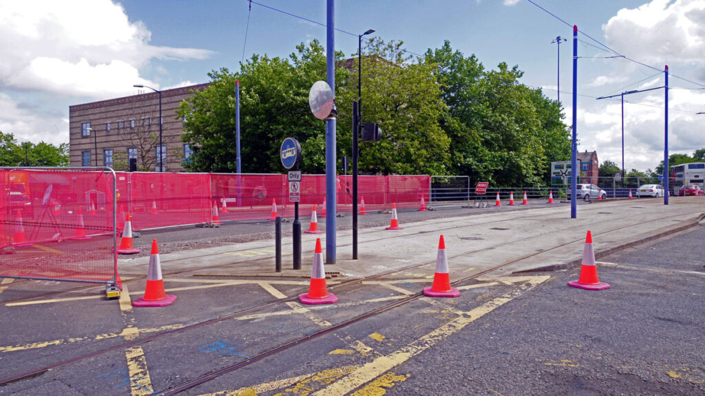 Away from the main worksite along Bilston Road preparations are being made just before Wolverhampton St George's where the junction will be installed to take trams to the railway station.