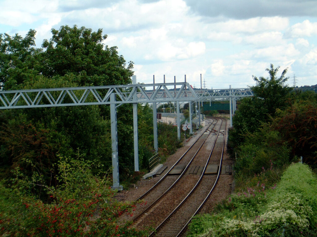 Overhead line supports in place at Rotherham Parkgate.