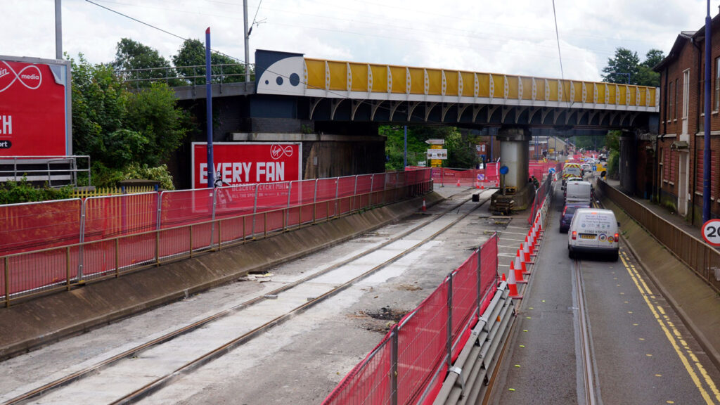 Another view on Bilston Road showing new track in place.