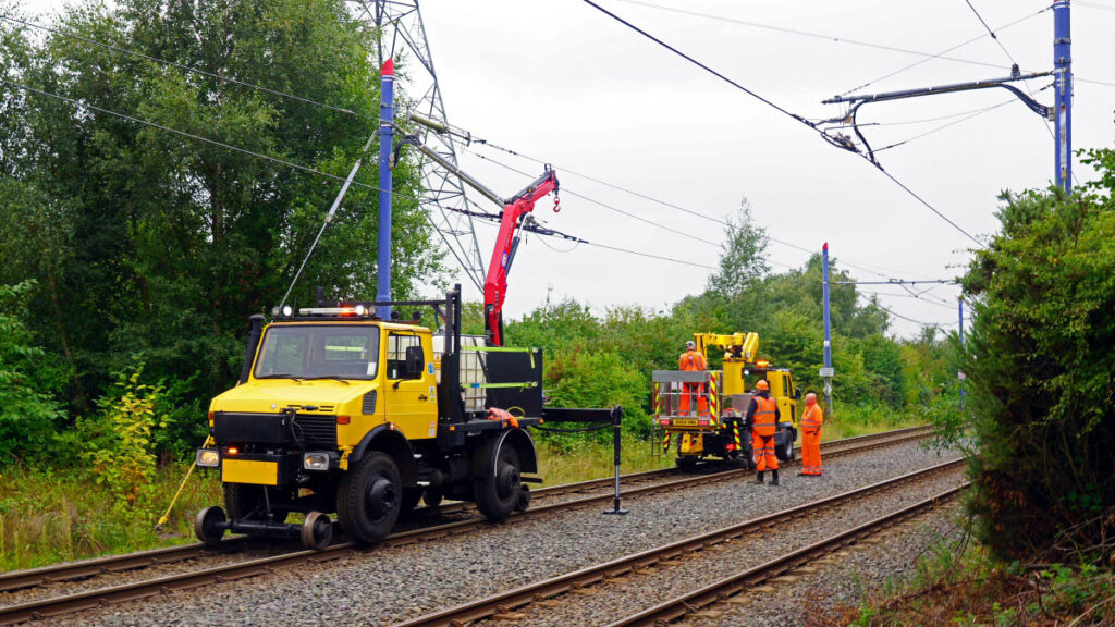 Two of Midland Metro's engineering vehicles on the scene to help effect repairs.