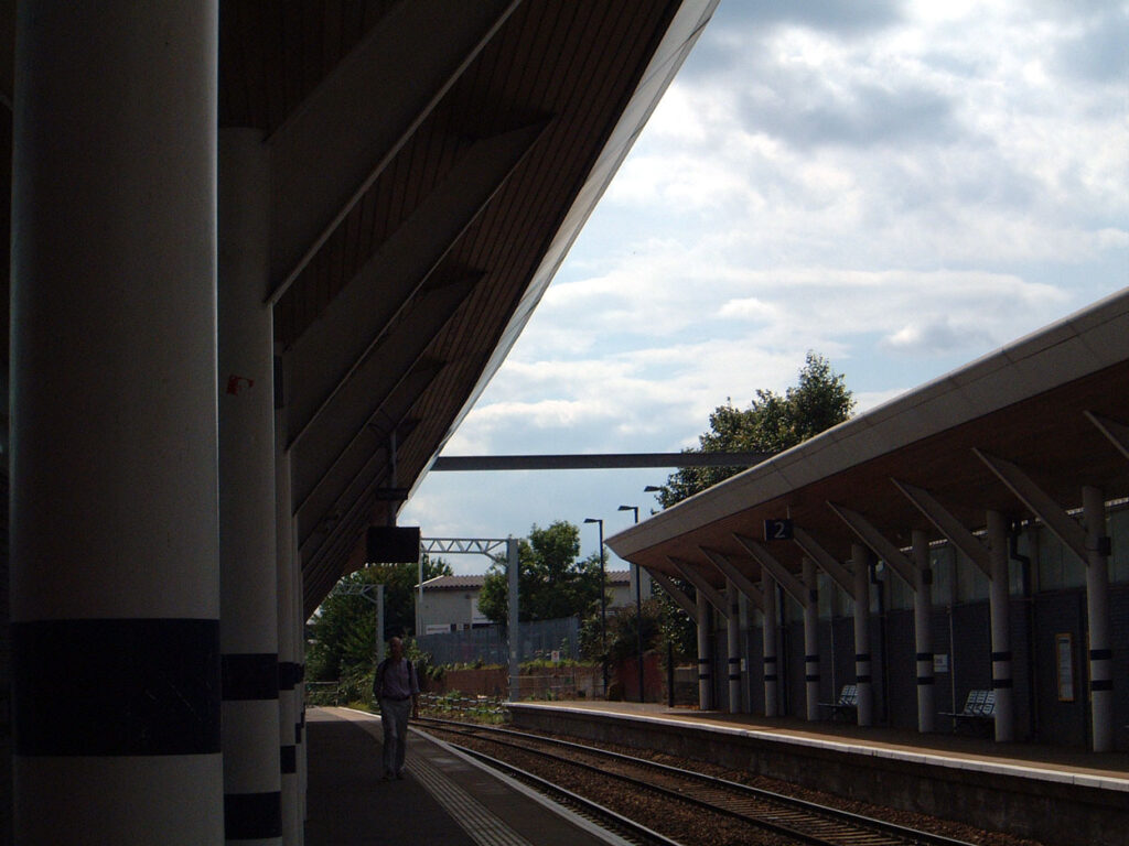 Overhead line supports now installed over the roof of Rotherham railway station.