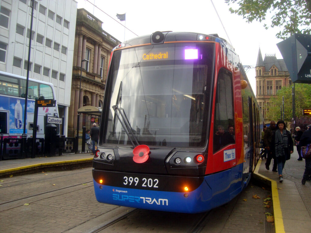 On 28th October 399 202 is seen at Cathedral with its poppy in position. Once again this Citylink tram was seen in service on the Purple route back to Herdings Park, although the destination screen is yet to be changed. (Photograph by Stuart Cooke)