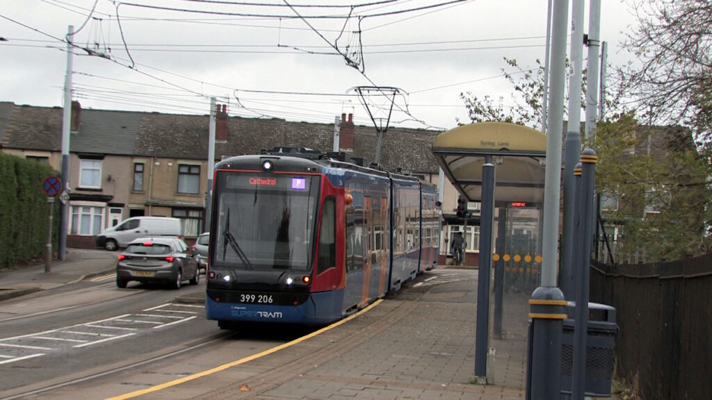 In this view we catch up with 206 as it arrives at Spring Lane with a service to Cathedral.