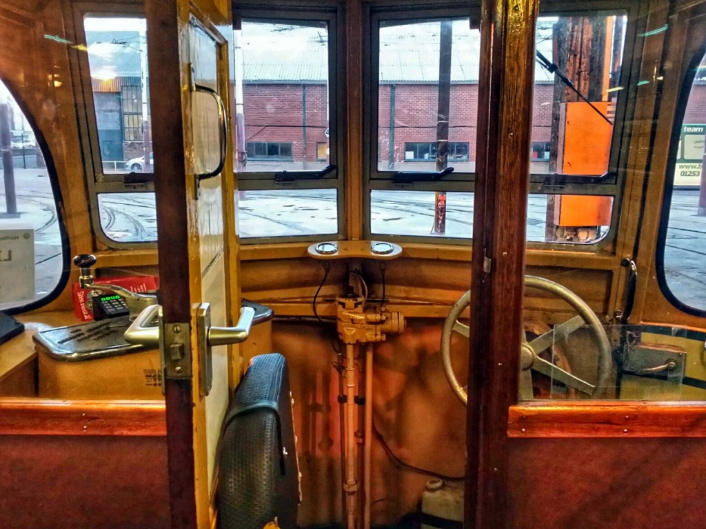 In this first view we take a look at one of the cabs. Fairly standard of Balloon Cars we see the drivers door open with the tip up seat visible along with the various controls. There is also a selection of Heritage Tram Tour leaflets!