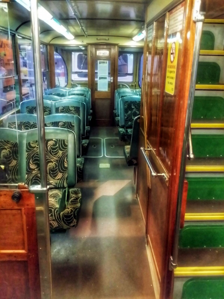 Moving along to the centre platform and we look down towards the end of the tram. Swingover seats with the traditional and familiar Blackpool moquette. One of the staircases to the upper deck is also seen here. (Both Photographs by Gavin Lindsay)