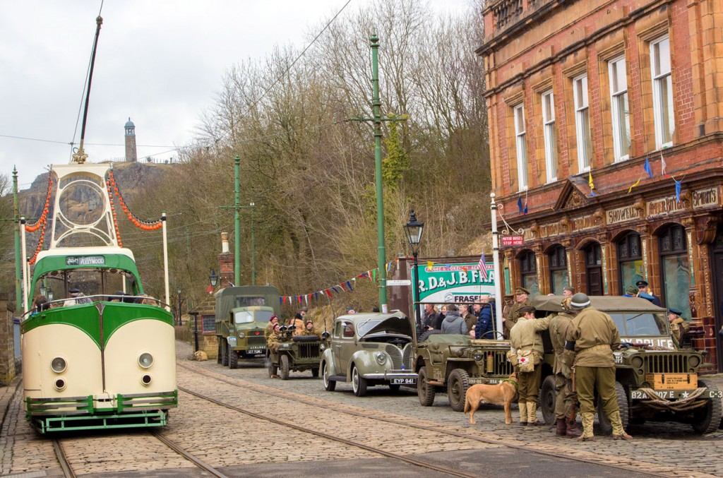A tram which was used for the first in 2018 was Blackpool Boat 236 which, despite the continued cold weather, proved to be a popular choice with visitors. In this view the tram is seen passing The Red Lion and various visiting period vehicles.