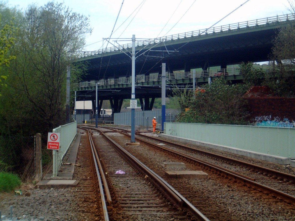 Looking from Meadowhall South stop towards Meadowhall and Tinsley Junction where the Tram-Train service will diverge on the right away from the mainline.